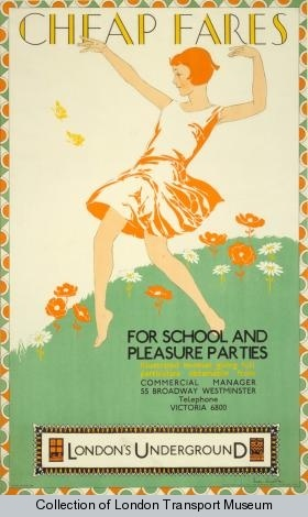 Cheap fares for school and pleasure parties, by Freda Lingstrom, 1929    Published by Underground Electric Railway Company Ltd, 1929  Printed by The Baynard Press,  Format: Double royal  Dimensions: Width: 635mm, Height: 1016mm  Reference number: 1983/4/2665