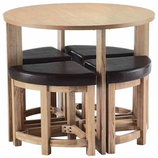 round table with compact design and chair saver idea maximizing your small dining space with compact dining table in dining room category