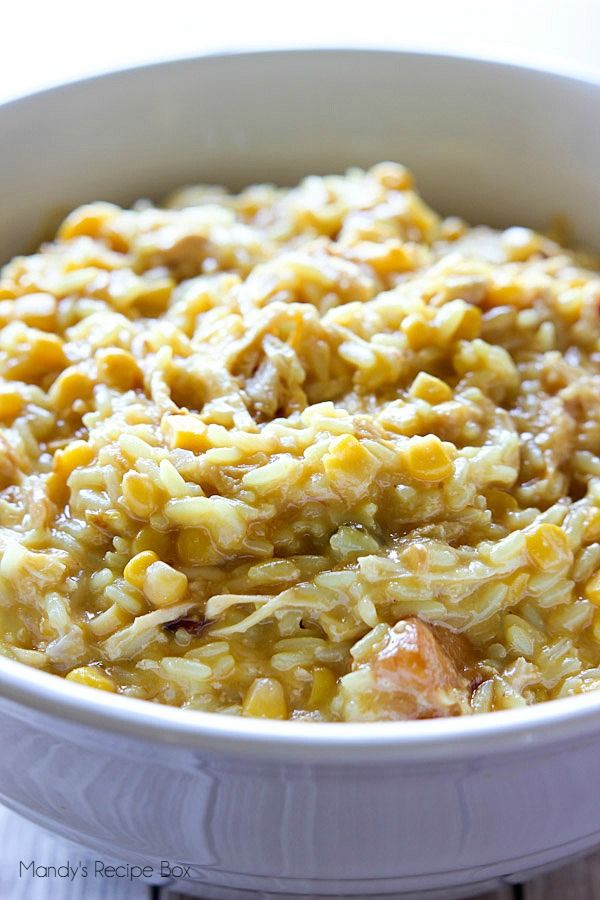 Slow Cooker Cheesy Rice and Chicken Casserole. I'll use a different flavor of boxed rice because I don't like the kind called for.
