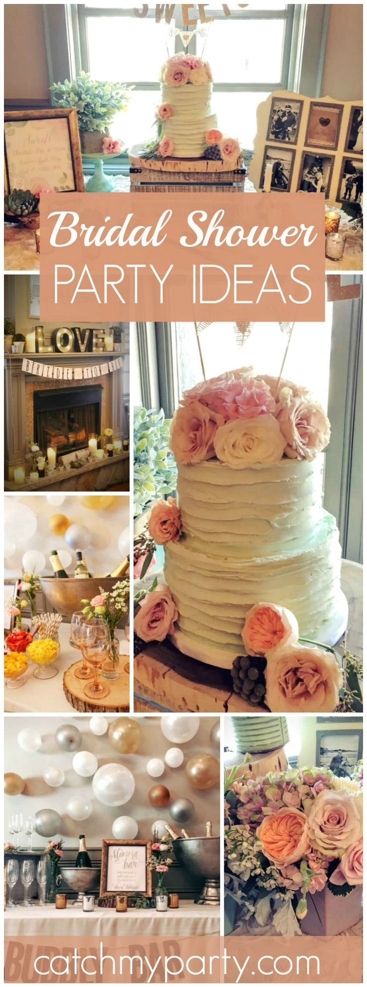 Wow! What a beautiful blush and mint bridal shower with a bubbly bar! See more party ideas at CatchMyParty.com!