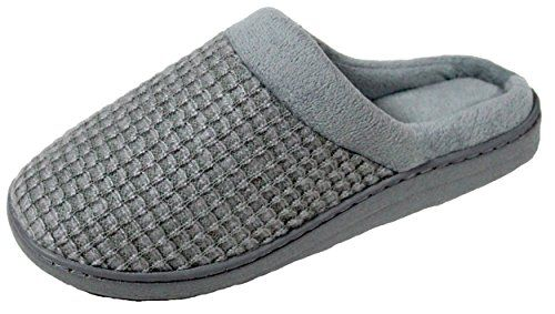 LUXEHOME Women's Slip-On Cozy Knit House Footwear/Slippers(1-12) (6.5-7.5 US, Grey) >>> You can find more details at