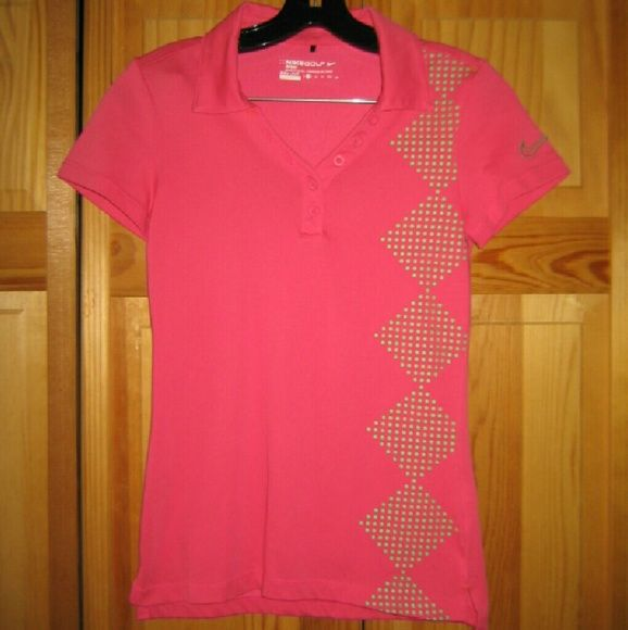 Nike Golf Drive Fit Pink Polo Shirt This top is preloved but still in very good condition. It is a hot pink Drive Fit Polo Shirt with green polka dot geometric designs. Made of 61% cotton 39% polyester. Tag size is XS. Nike Tops