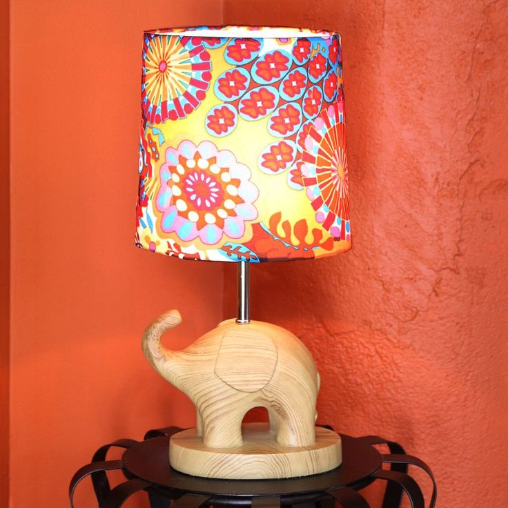 River of Goods Electric Elephant Wood Grain 16.5-inch Accent Table Lamp With Multicolored Shade