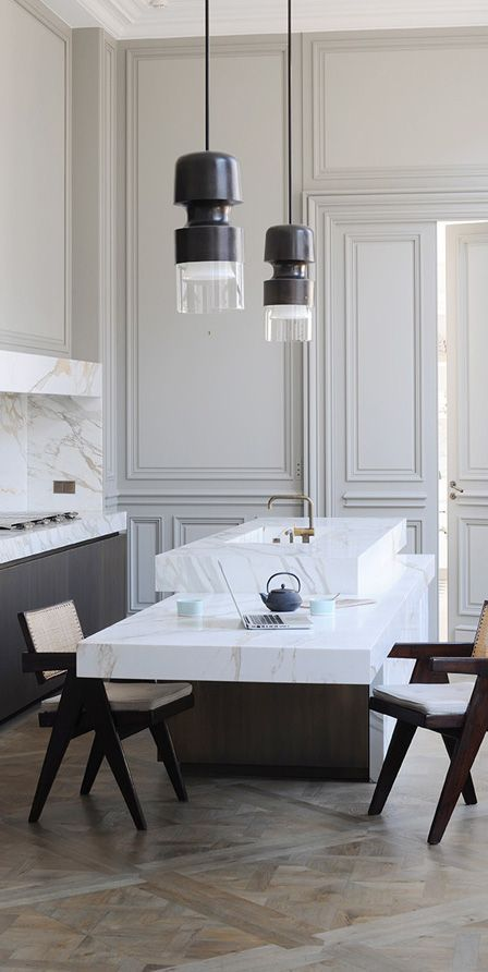 PRIVATE APARTMENT // JOSEPH DIRAND // PARIS - lowered counter top for dining is chic in this layout, but wouldn't feel right in a lot of spaces.