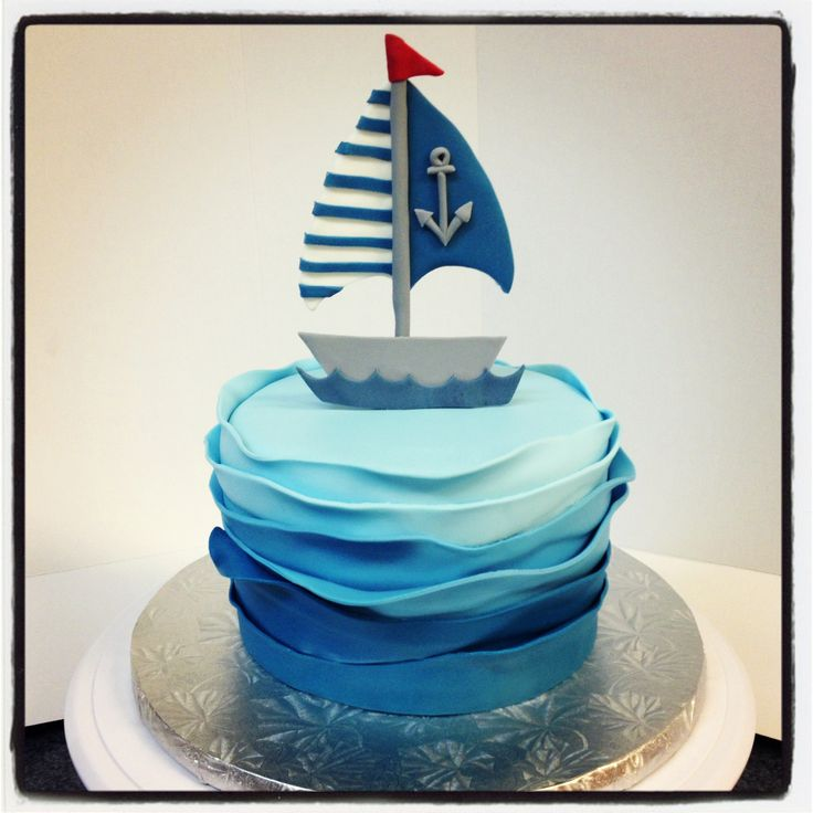 Nautical theme baby shower sail boat cake annacakes.com