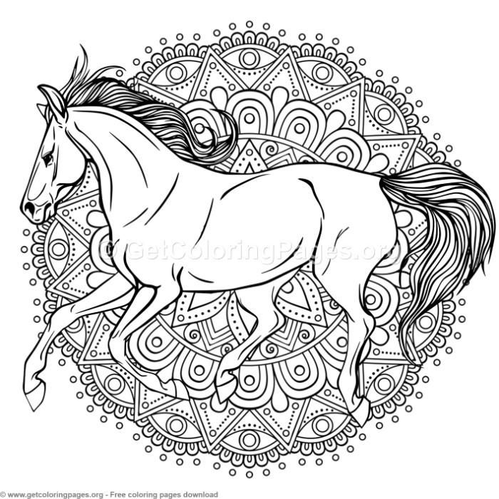 4 Horse Mandala Coloring Pages Free Instant Download Coloring Coloringbook Coloringpages Horse Coloring Pages Animal Coloring Pages Butterfly Coloring Page