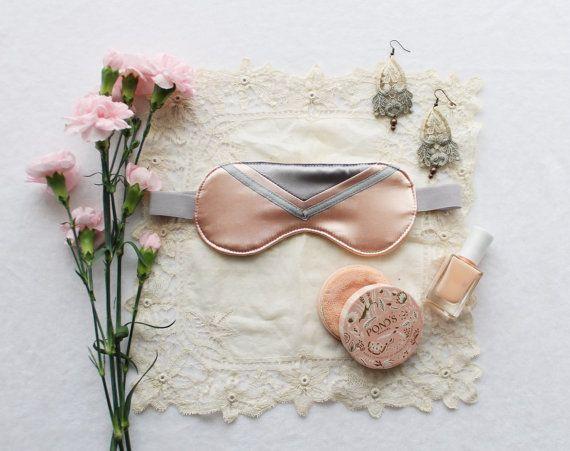 Peach and Grey Satin 'Clara' Chevron Geometric Sleep Mask Eye Pillow Handmade to Order