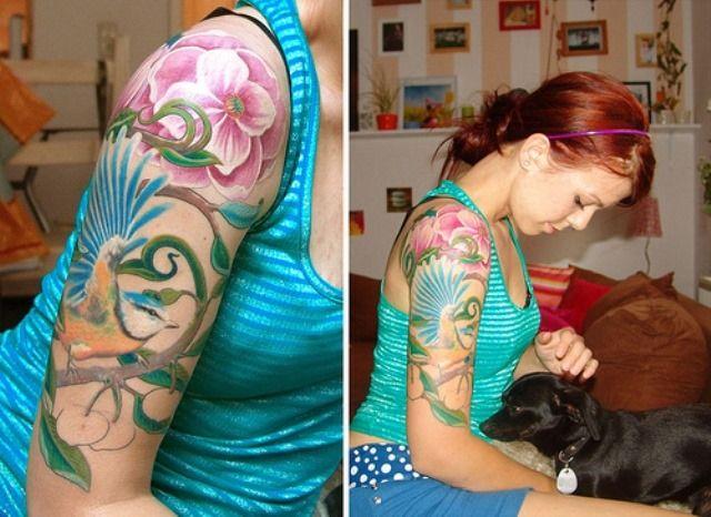 Awesome Feminine Sleeve Tattoo Design