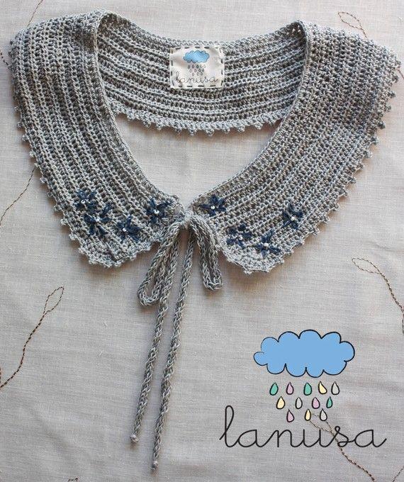 SALE  Grey crocheted collar by lanusa on Etsy, $15.00