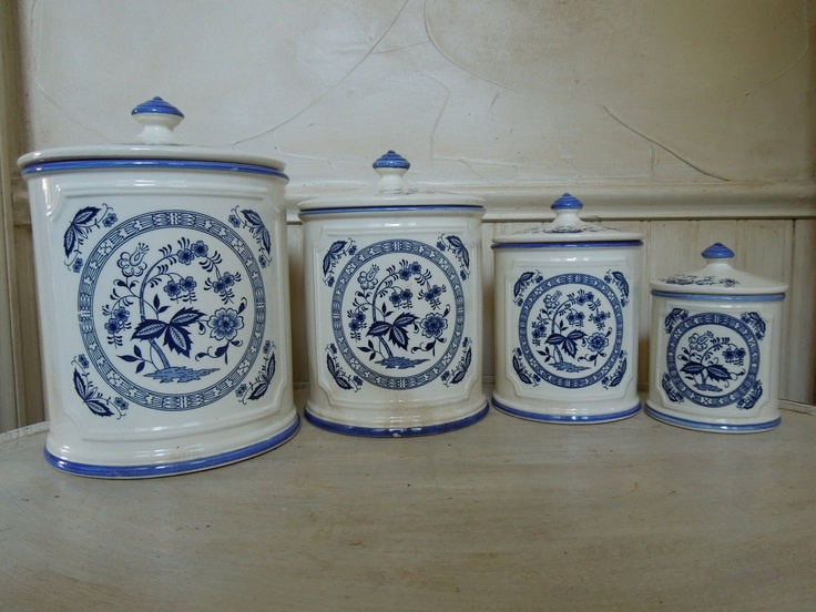 Vintage Porcelain Canister Set Made In Japan Blue And White Canister Set