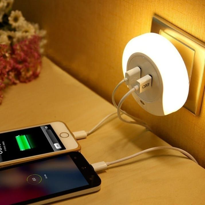 This dual USB charger and nightlight combo that allows you to charge two devices at once ($10.99).