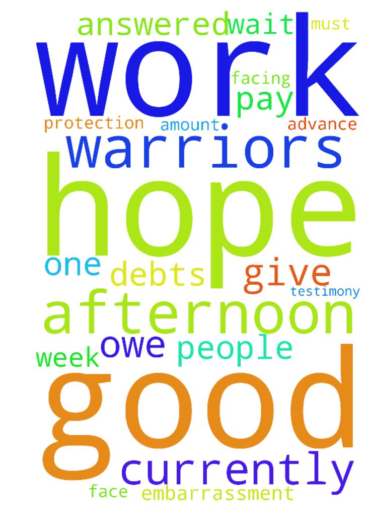 Good afternoon Prayer warriors  I hope you prayers - Good afternoon Prayer warriors I hope you prayers are being answered, I cannot wait to give testimony on this one. please pray with me that the Lord get me out of this debts that I am currently facing, I owe people the amount of more than R16 000.00 which I must pay by this week or face embarrassment at work. I am also praying for protection of my work. I thank you and the Lord in advance in Jesus name Amen. Posted at…