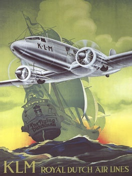 KLM Airlines Metal Sign, Vintage Airplane and Sailing Ship, Dutch, Travel,: Vintage Posters, Deco Posters Signs, Vintage Airplane, Sailing Ships, Art Canvas Print, Metal Signs, Travel Posters, Airlines Metal