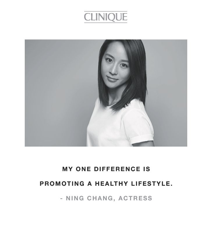 """My one difference is promoting a healthy lifestyle."" -Ning Chang, actress"