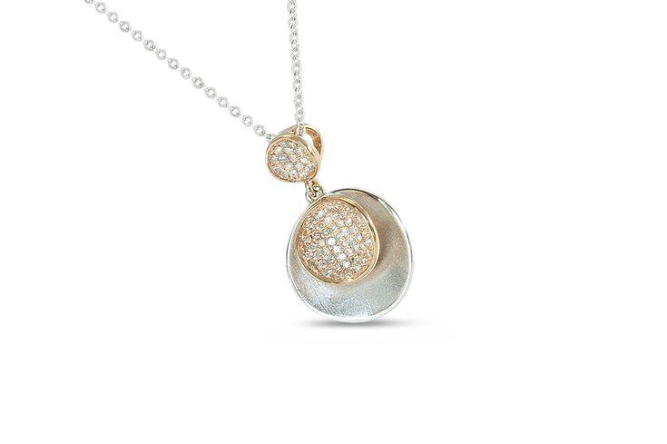 18 ct white & rose gold disc pendant pavé set with diamonds