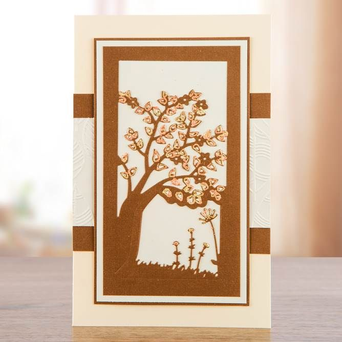 Stunning wood effect #handmadecard! Made using the Into the Woods Collection, shop now: http://www.createandcraft.tv/papercraft/dies+and+storage/dies/couture+collection--into+the+woods.aspx?icn=Into_The_Woods&ici=Couture_Into_The_Woods #papercraft #cardmaking