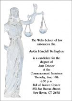 Graduating Scales of Justice Announcing Invite Cards for Law School Graduates
