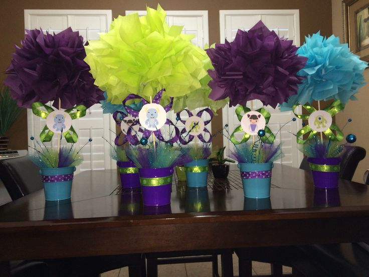 Table piece decorations Monsters Inc Baby Shower