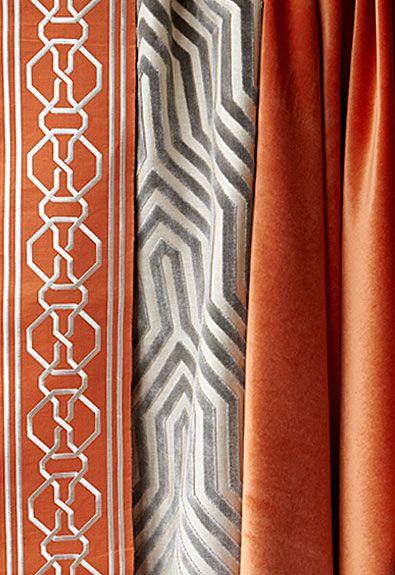 Malmaison Tape in Tangerine, 66152.  http://www.fschumacher.com/search/ProductDetail.aspx?sku=66152  Vanderbilt Velvet in Dove, 66190.  http://www.fschumacher.com/search/ProductDetail.aspx?sku=66190     #Schumacher
