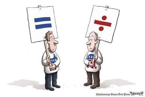 Democrats = Equality    Republicans = Division