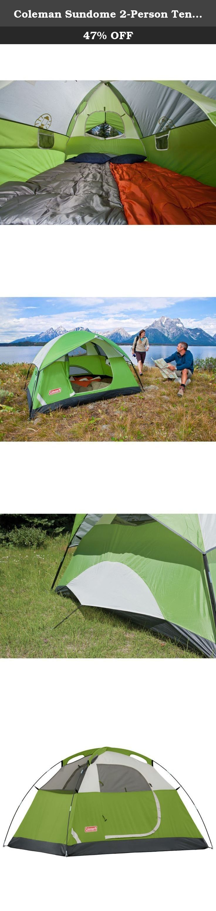 Coleman Sundome 2-Person Tent,Green. The Coleman sundome tent is ideal for weekend car campers, extended camping trips, scout troops & Summer fun. Coleman tents are designed for easy set up by using a continuous pole sleeve and exclusive Pin and Ring Design making it possible for one person to set a coleman tent up without the need for assistance. Also the Exclusive WeatherTec system is designed to make sure you stay dry if it does begin to rain.