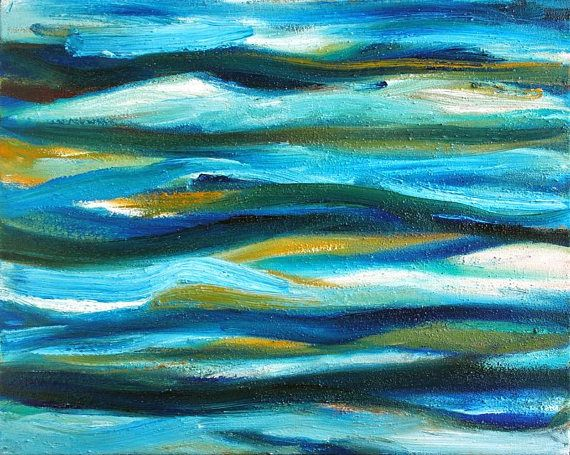 Turquoise abstract oil painting on canvas. Original abstract painting by Maria Meester.