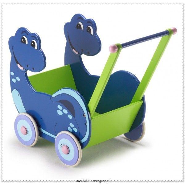 Drewniany Wózek Dino dla lalki - Zielono Niebieski od Bayer Chic 2000. Pomięci lalkę lub pluszaka do 40cm