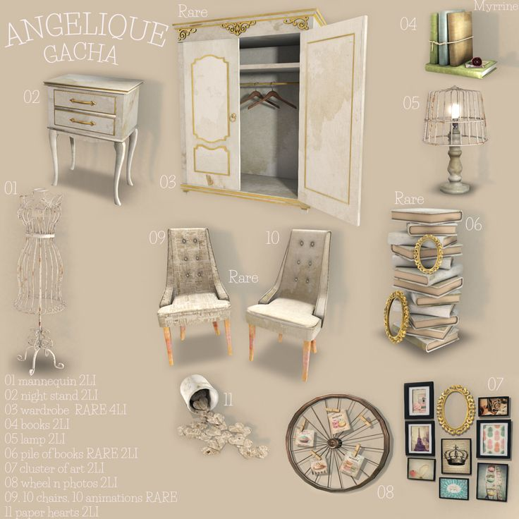 Angelique gacha available at Myrrine store in Second Life.