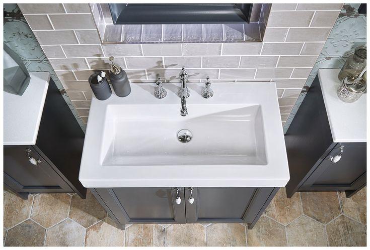 Luxurious laptop washbasin unit in London Grey with regent basin mixer #Roseberry #paintedtimber #bathroomfurniture #myutopia