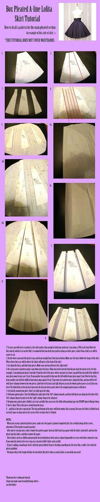 He encontrado este tutorial en pinterest para faldas con corte en A con tablas que me parece que está bastante bien explicado      Es cómo s...