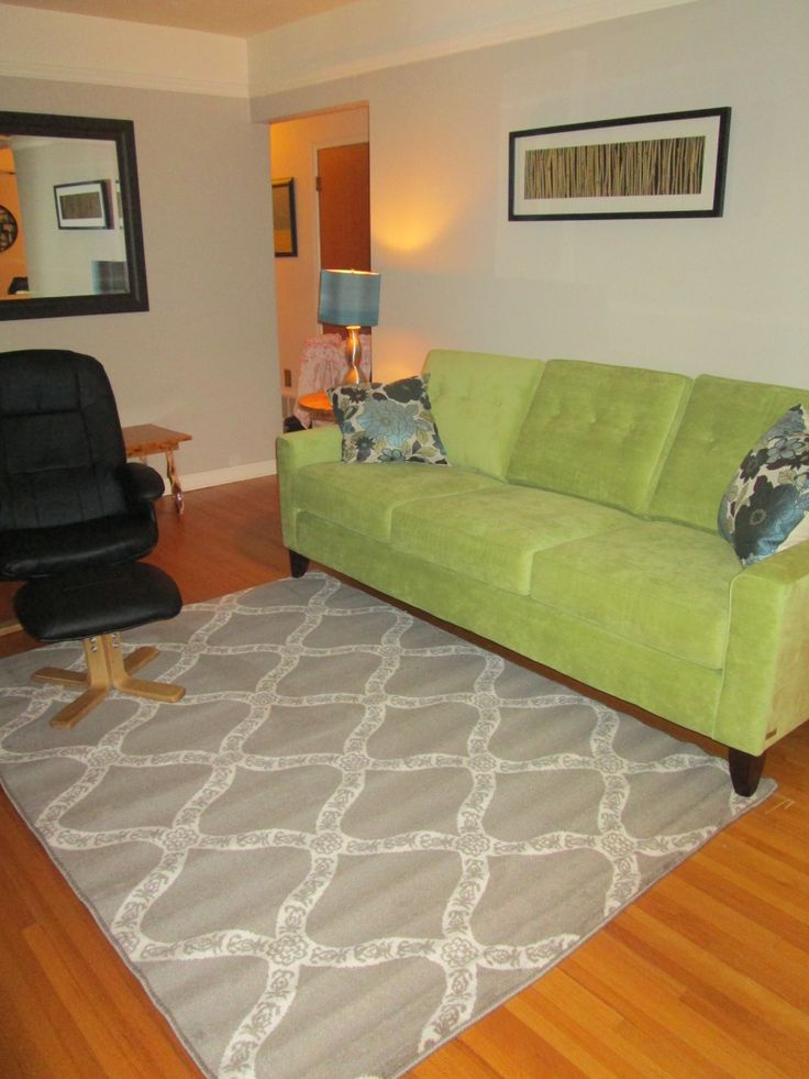 Alexis sofa from Sears, Bahia rug from Rona, pillows from Walmart