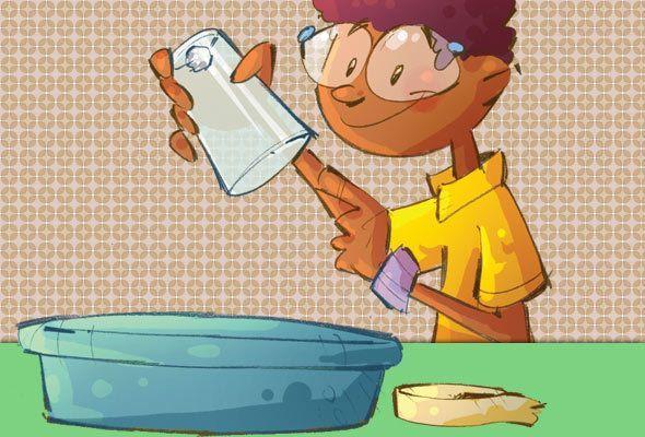 BOLA DE PAPEL QUE NÃO SE MOLHA        Você vai precisar de:  Um lenço de papel  Um copo  Fita adesiva  Uma bacia com água       Como faz...