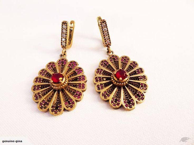 Gorgeous large simulated gemstones Sterling & Bronze Turkish Bazaar earrings