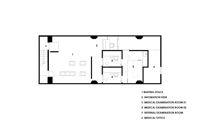 クリニックの内装プラン 大阪 金田圭二建築設計事務所