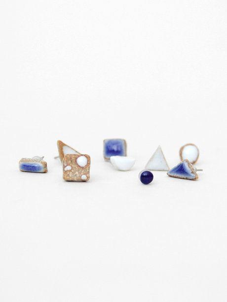 Ceramic Earrings - White Triangle