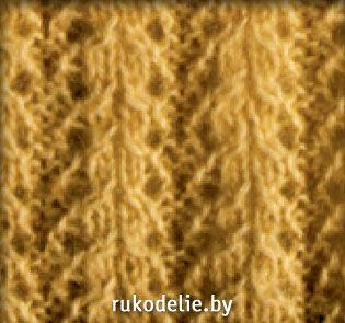 Плотный ажурный узор из простых вертикальных дорожек, вязаный спицами.