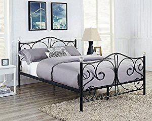 single 4ft6 double u0026 5ft king blackwhite metal bed frame with crystal finials