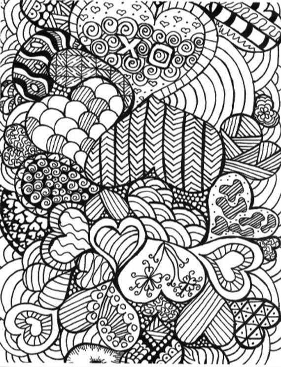Downloadable Heart Doodle Coloring Page Heart Drawing Etsy Heart Coloring Pages Love Coloring Pages Doodle Coloring