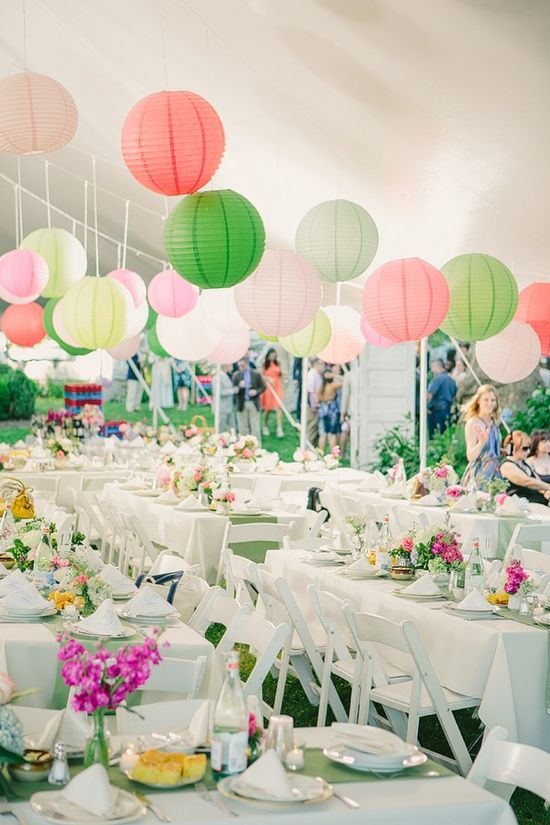Found on WeddingMeYou.com - Garden Wedding Decoration Ideas with colorful pink and green lanterns   Photo by Matt Miller of Our Labor of Love