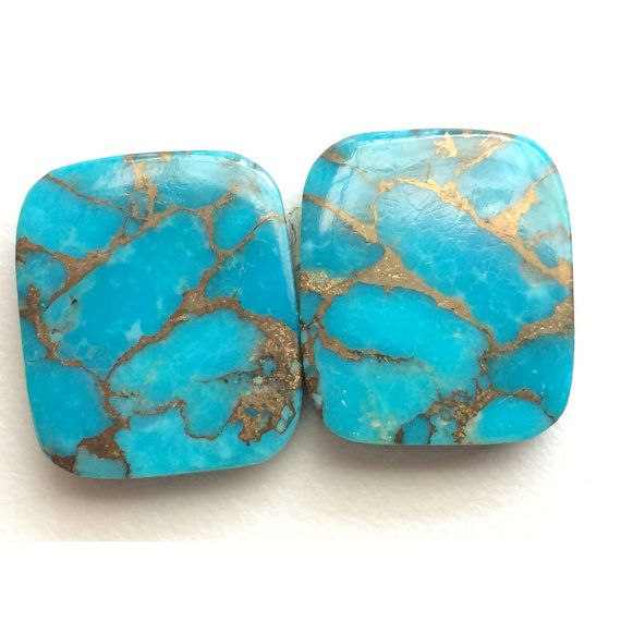 Copper Turquoise Natural Cabochon Blue Turquoise by gemsforjewels