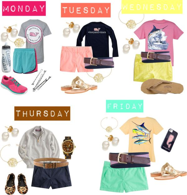 lovelaurenmarie17: Weekly by katandodee featuring a leather belt ❤ liked on PolyvoreVineyard Vines / Printed t shirt / T shirt / J.Crew j crew / J.Crew j crew / Chino shorts / J.Crew j crew / NIKE / Rainbow flip flops / Jack Rogers flat shoes / NIKE athletic shoes / Michael Kors watch, $275 / Pearl jewelry, $220 / Silver charm / Belt / Leather belt, $115 / Iphone case / Guy Harvey Marlin Boat Youth Tee Shirt in Dark Pink, Lime, Denim Blue,… / CamelBak Trinkflasche Podium Chill 610ml, $16