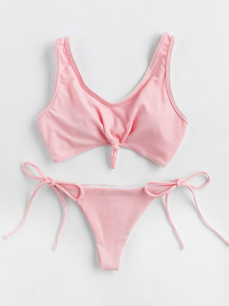Shop Knot Front Side Tie Bikini Set online. SheIn offers Knot Front Side Tie Bikini Set & more to fit your fashionable needs.