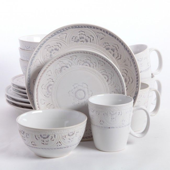 Gibson Elite Florence Gardenia 16 Piece Dinnerware Set, White