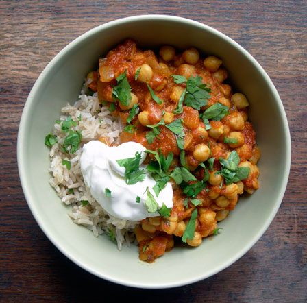 Spicy chickpea curry- made with all pantry ingredients and an excellent low-fat source of protein. PLUS chickpeas are rumored to be an aphrodisiac...