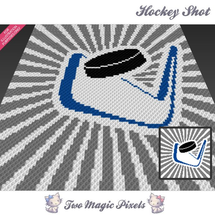 Hockey Shot crochet blanket pattern; c2c, knitting, cross stitch graph; pdf download; no written counts or row-by-row instructions by TwoMagicPixels, $2.84 USD