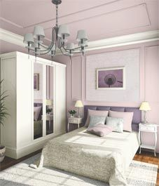 Trim alert! This ultra feminine mauve bedroom is the envy of every girl! The traditional paneling on the walls and ceiling is juxtaposed with glossy white crown. Who wouldn't want to get some R&R in this bedroom? #inspiration #interiortrim #interiorfinishings #moulding