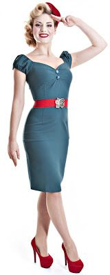 Curvy Wordy: Collectif Dolores Wiggle Jersey Vintage Crepe Dress Teal