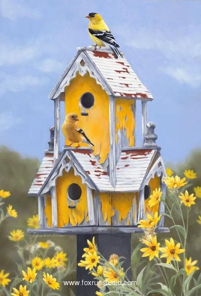 House Hunting-Goldfinch Original Oil 15 1/2 x 10 1/2. Victoria Wilson-Schultz.