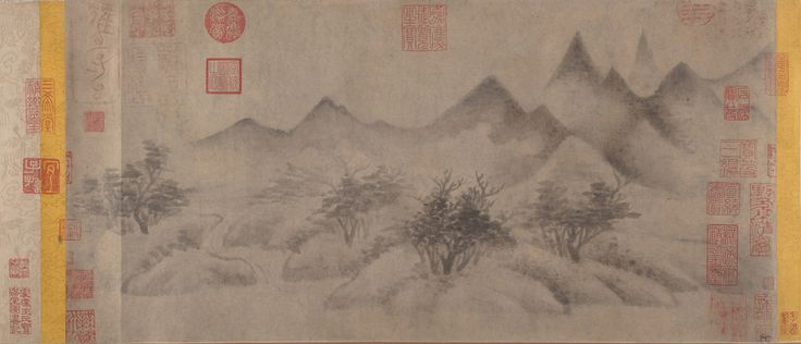 "SONG DYNASTY HANDSCROLL: Cloudy Mountains BY Mi Youren (1074–1151), ink on paper, 10 7/8 x 22 7/16 in. (27.6 x 57 cm). Metropolitan Museum, N.Y. Created with wet ink dots, this style is the immediate predecessor of the evocative ink-wash landscape style of the later Southern Song period. Referred to by scholar-artists as ""ink play,"" the style suggests the importance of the painter's psychological expression, thereby raising the status of painting to that of poetry and calligraphy."