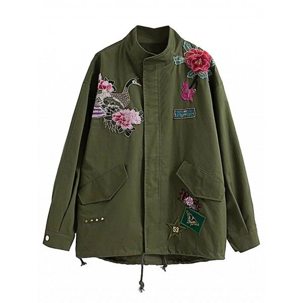 Choies Army Green Embroidered Detail Studded Parka Jacket ($54) ❤ liked on Polyvore featuring outerwear, jackets, green, green studded jacket, embroidery jackets, green camo jacket, olive green parka and green military jacket